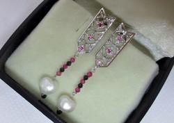 Gyönyörű kézműves valódi gyémánt,rubin,zafír,és gyöngy ezüst fülbevaló