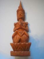 U8 Ázsiai dúsan faragott nagyméretű  ülő meditáló szobor ritkaság 23-cm-es vitrintárgy