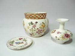 Zsolnay Pillangó mintás kaspó, váza és tálka