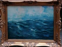 Zórád Géza (1880-1960) Hullámzó tenger Eredeti Garanciával