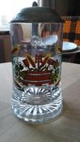 Kézzel festett fedeles kupa,korsó üvegből szép állapotban
