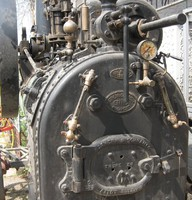 Hofherr gőzgép lokomobil veterán gőz traktor reklám cég tábla Loft gép industrial gépipari
