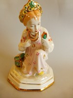 Extrém ritka,gyönyörű festésű orosz LZF1 porcelán kislány tükörrel,Alyonushka