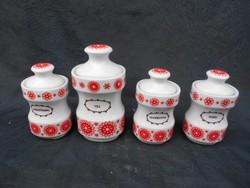 Alföldi porcelán, retro, 4 db-os fűszertartó, fedeles, jellegzetes díszítéssel. Hibátlan.