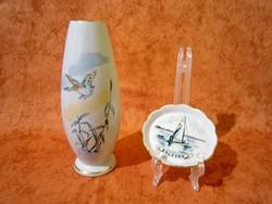 Nagyon ritka festésű Aquincumi porcelán Balatoni emlék (15,5 cm) váza és tálka