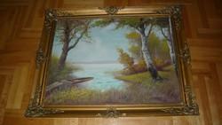 Szegő B. BALATONI Kikötő NAGYMÉRETÚ-olaj-festmény  BLONDEL 93X73 cm