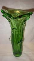 Cseh művészi zöld üveg váza 30,5 cm 2487 gramm