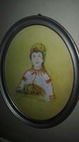 Csók István : Lány népviseletben, virágcsokorral? - antik festmény,ovális fa keretben, 1 forintról.