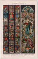 Üvegfestészet II., litográfia 1893, színes nyomat, német nyelvű, Brockhaus, üveg, festés, régi