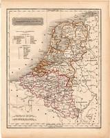 Hollandia és Belgium térkép 1840 (2), német nyelvű, atlasz, eredeti, Pesth, 23x29 cm, magyar kiadás