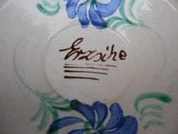 ERZSIKE feliratú, régi,kézzel festett, mázas, népi kerámia falitányér, dísztányér. Remek ajándék.