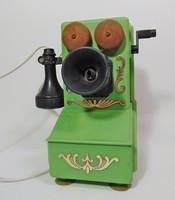 Régi fali kurblis játék telefon, Jugoszláv 1974
