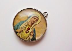 Antik ezüst kagylóhéjra kézzel festett Mária medál