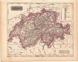 Svájc térkép 1840 (2), német nyelvű, atlasz, eredeti, Pesth, 23 x 29 cm, magyar kiadás, Pest
