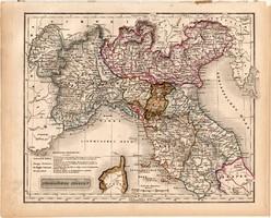 Észak - Olaszország térkép 1840 (2), német nyelvű, atlasz, eredeti, Pesth, 23 x 29 cm, magyar kiadás