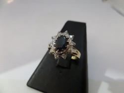 Zafíros - brilles arany gyűrű
