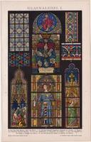 Üvegfestészet I., litográfia 1893, színes nyomat, német nyelvű, Brockhaus, üveg, festés, régi