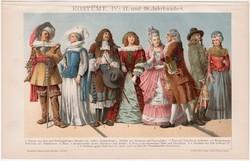 Öltözködés, ruhák IV., litográfia 1893, színes nyomat, német, XVII. és XVIII. század, divat, kosztüm
