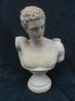 Nagyméretű antik, ókori római-görög ábrázolású mészkő mellszobor,.Kb:8 kg.Apolló talán.Hibátlan.