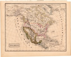 Észak - Amerika térkép 1840 (2), német, atlasz, eredeti, Pesth, 23 x 29 cm, Mexikó, Kanada, közép