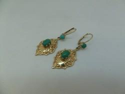 Türkizes arany fülbevaló pár