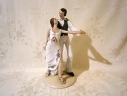 Gyönyörű, jelzett Dorohoi nagy és ritka porcelán táncoló pár, balerina 24 cm magas