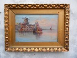 Karl Kaufmann(1843-1901) Holland kikötő.Olaj-vászon.Szép keretben.