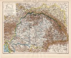 Magyarország és Galícia térkép 1895, német nyelvű, eredeti, lexikon melléklet, Brockhaus, régi