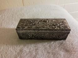 Régi virágmintás dobozka, ékszeres doboz