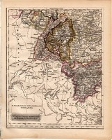 Délnyugati Német nemzetállamok térkép 1840 (2), német nyelvű, atlasz, eredeti, Pesth, 23x29 cm, régi