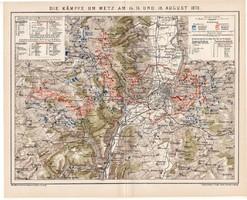 Metz-i csata térkép 1870 augusztus, kiadva 1893, német nyelvű, eredeti, lexikon melléklet, Metz