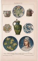 Fajansz, litográfia 1893, színes nyomat, német nyelvű, Brockhaus, tál, kerámia, korsó, régi