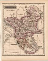Törökország (Európa), Görögország térkép 1840 (2), német nyelvű, atlasz, eredeti, 23 x 29 cm, Balkán