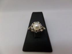 Gyöngyös - brilles fehér arany modern gyűrű