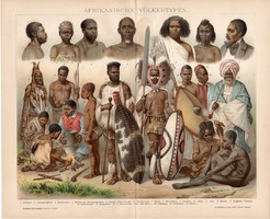 Afrikai népfajok, litográfia 1892, német nyelvű, színes nyomat, Afrika, ember, típusok, arab, nép