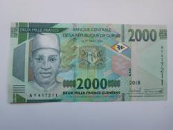 Guinea 2000 francs 2019 UNC A legújabb címlet!