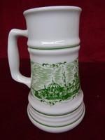 Alföldi porcelán sörös korsó Szeged látképpel, fél literes.