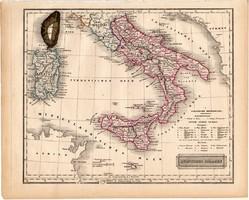Dél - Olaszország térkép 1840 (2), német ny., atlasz, eredeti, Pesth, 23 x 29 cm, Szardínia, Korzika