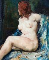 EMILE BAES (1879-1954) Impresszionista Belga festő női akt festménye 1920