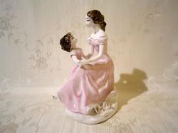 Nagyon ritka jelzett porcelán: anya kislányával rózsaszín ruhában