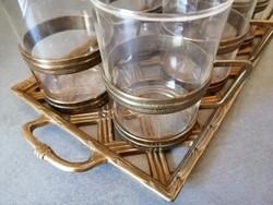 Réz melegital szett - hőálló poharak tartóban + tálca