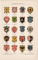 Céh címerek I., litográfia 1895, színes nyomat, német nyelvű, Brockhaus, céh, ipar, címer, régi