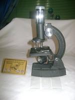 Retro mikroszkóp egy darab limitált kiadású állatos kártyával