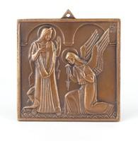 0Y827 Jelzett vallási kegytárgy bronz plakett