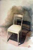 Bernáth Aurél:Szék árnyékával. Akvarell papír . 32x23 cm.