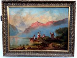 Pollay Jozsef - Alpesi táj folyóval és alakokal