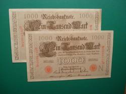 Német Császárság 2*1000 márka 1910 Extraszép, sorszámkövető