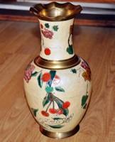 Réz rekeszzománc váza, 29 cm magas és 16 cm átmérőjű, antik