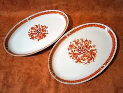 F_025 2 db Különleges GDR Henneberg porcelán süteményes, sültes kínáló tál, tányér 35 x 23 cm