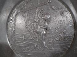 Fém - retro - alumínium - domdornyomott - gyümölcstartó  tál - 25 x 5 cm